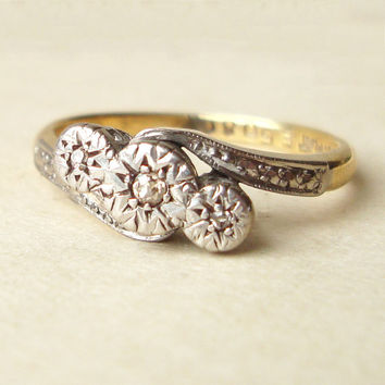 Art Deco Champagne Diamond Ring, Engagement Ring, 18ct Gold, Platinum & Diamond Antique Wedding Ring Approx Size US 5.75