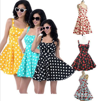 Women Summer Floral Print Retro Vintage 50s Polka Dot Casual Party Rockabilly Dress plus size Vestidos Femininos = 1946336068