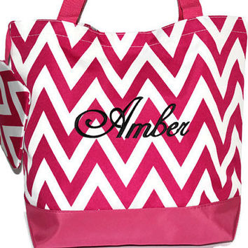 Black Friday Sale, Pink CHEVRON Tote Bag, Beach Bag, Bridesmaid Gift, Personalized Bag