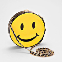 Smiley Face Emoji Crossbody Bag, Box Purse with Chain