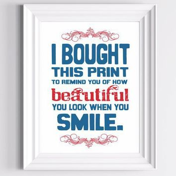 Cheer up Smile Poster I Bought this Print Red and by TheWallaroo