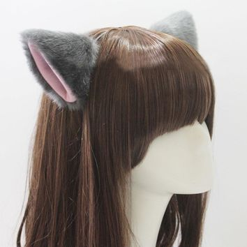 Solid Color Furry Cat Ears Hair Clips