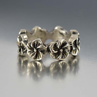 Vintage Sterling Silver Pansy Eternity Band Ring