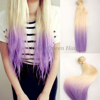 Pastel Hair Extensions, Purple Wigs, Blonde to Lilac Dip Dye Mermaid Indian Remy Hair Extensions, Straight Hair,3 bundles hair weft one set