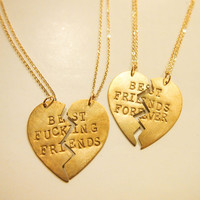 BFF Broken Heart Charm Necklaces (Set: Best Fucking Friends / Best Friends Forever / This Must Be The Place / Always On My Mind)
