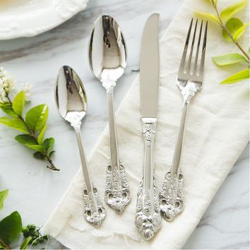 Vintage Silver Cutlery Set 24pcs 18/10 Stainless Steel European Classic Style Dinnerware Set with Flower