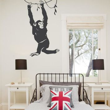 Hanging Chimp Cute Wall Decals Nursery Kids Bedroom Art Decor Animals Series Vinyl Wall Sticker Nature Monkey Ceative Mural M-16