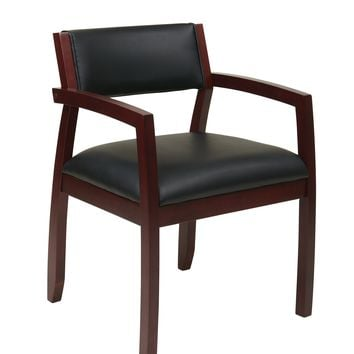 Office Star Black Napa Mahogany Guest Chair with Upholstered Back