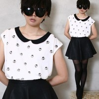 French Chic Kawaii Ladybug Polkadot Peter Pan Collar Loose T-shirt Top T-shirt