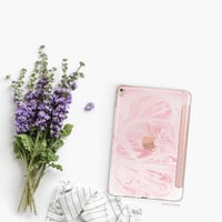 Platinum Edition Pink Marble Swirl with Rose Gold Detailing Hybrid Smart Cover Hard Case for the iPad Air 2, iPad mini 4 , iPad Pro