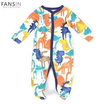 Baby Boys Girl Dinosaur Printed Rompers Newborn 100% Cotton Long Sleeves Jumpsuit Romper Children Costume Toddler Infant Clothes