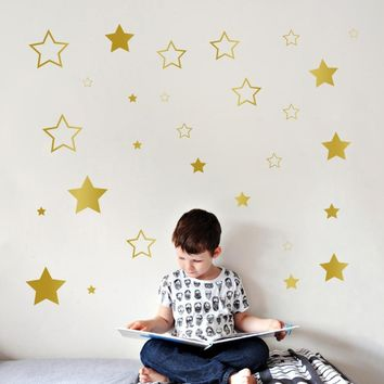 Baby Nursery Stars Wall Sticker Star Wall Decal Children Room Kids Room Wall Art Cut Vinyl Decor