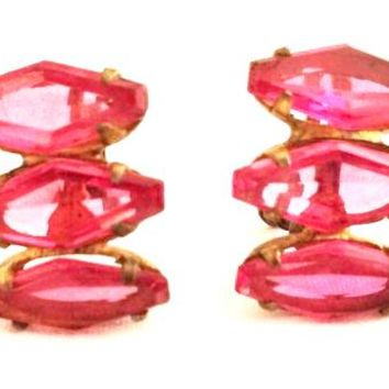 Sterling Vintage Jewelry Screw back Earrings Rose Pink Coffin Rare Rhinestone