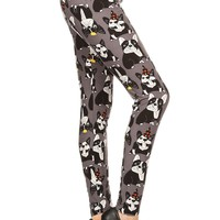 Women's Boston Terrier Leggings Birthday Dogs Gray: OS/PLUS