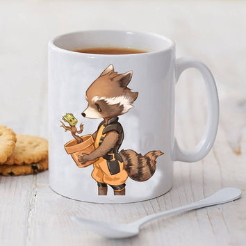 groot and rocket racoon best friend mug