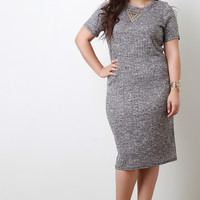 Melange Rib Knit Short Sleeve Midi Dress