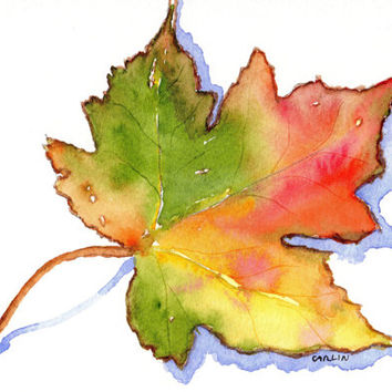 Maple Leaf, 5x7, Orignal Watercolor, Autumn, Fall Season, Colorful leaf, wall art, home decor, Thanksgiving, Seasonal, Canadian