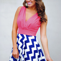 RESTOCK The Sarah Belle Dress: Coral/Navy | Hope's