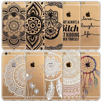Colorful Dreamcatcher Phone Cases For Apple iPhone 6 6s Case Back Cover Soft TPU Silicon Floral Paisley Flower Mandala