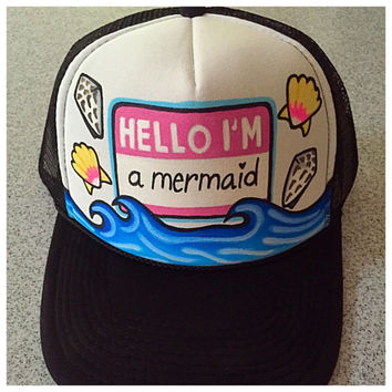 Hello im a mermaid!! Handpainted trucker hat