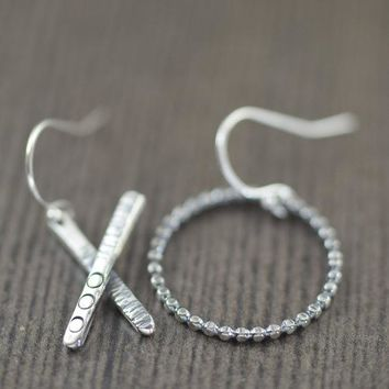 XO sterling silver earrings hammered texture