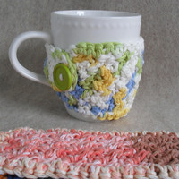 Mug Cozies: crochet multi-mix colors (choose 1)