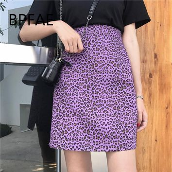 2018 New Women Harajuku Vintage Purple Leopard Print Mini Long Skirt Sexy High Waist Side Slit A-Line Skirts Plus Size 4XL Femme
