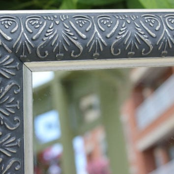 Gothic graphite and silver rectangular mirror hand-painted in Annie Sloan chalk paint