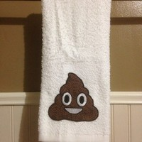 Poop Emoji Decorative Hand Towel in White