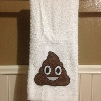 poop emoji decorative hand towel in white - Decorative Hand Towels