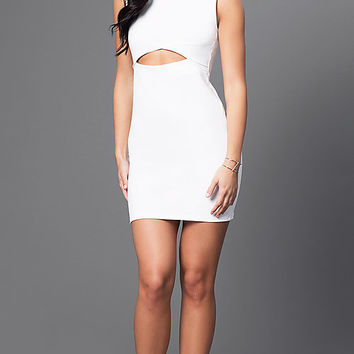 Short Homecoming Mini Dress with Midriff Cut Out