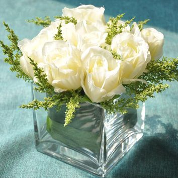Small Head Artificial Rose Glass Transparent Vase