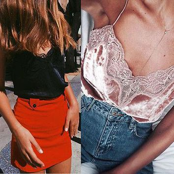 Fashion Women'S Summer Lace Top Sleeveless Velvet Tank Blouse Tops Shirt Off Shoulder V-Neck Sexy Lace New Hot