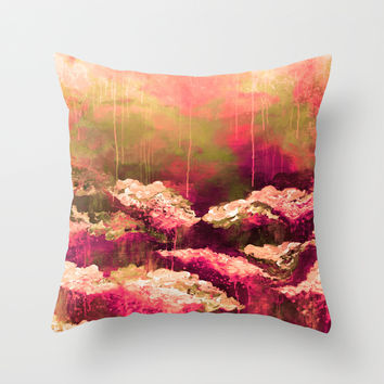 IT'S A ROSE COLORED LIFE 2 - Colorful Floral Garden Chic Abstract Pink White Olive Green Painting Throw Pillow by EbiEmporium