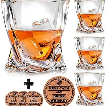 Twist Whiskey Glasses  Set of 4  by Vaci + 4 Drink Coasters Ultra Clarity Crystal Scotch Glass Malt or Bourbon Glassware Gift Set