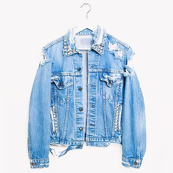 Vintage One a Kind Crush Studded Jean Denim Jacket