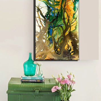Original Abstract painting--Contemporary Modern Fine Art--Large Colorful Canvas Art, by Henry Parsinia 48x24
