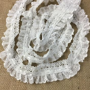 "1.75"" Cotton Eyelet Trim Lace with Ribbon and Ruffles, Great for Pillows, Blankets, etc. Lot of 2 Yards (Item# B1279R3)"