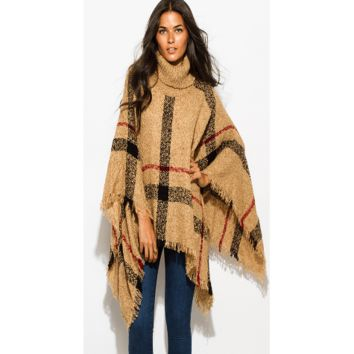 Women's Camel Beige Giant Checker Plaid Knit Poncho Sweater Jacket Tunic Top