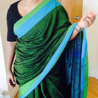 Handloomed linen green blue saree/ cotton green blue saree /saree/ cotton saree with pallu/ handloomed cotton saree