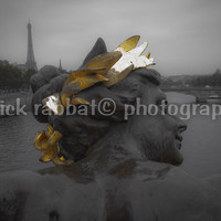 Golden Paris Fine Art Photography Parisean View Bridge Eiffel Tower Black&White Gold Statue Urban European Romantic France