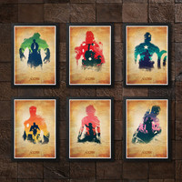 Avengers Thor, Captain America, Iron Man, Hulk, Hawkeye, Black Widow Old Poster Set / Print High Quality 225gr Coated Paper (Special Design)