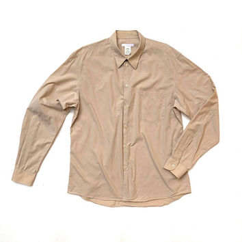 HELMUT LANG!!! Vintage 1990s 'Helmut Lang' men's long sleeved, beige button front shirt with shaped collar and shell buttons / Made in Italy