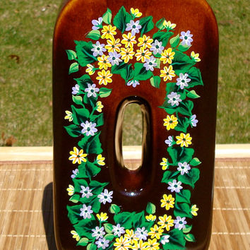 Hand Painted Vase With Flowers