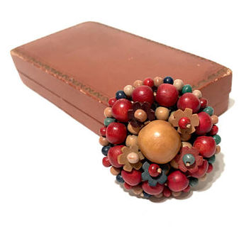 Vintage Czech Wooden Bead Brooch, 1930s, Wooden Flower Bead Pin, Wood Bead Jewelry, Multi Color, Domed, Vintage Jewelry