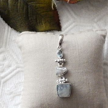 Artisan Crafted Sterling Silver Labradorite Baroque Pearl Faceted Aquamarine Pendant
