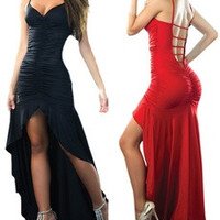 Sexy V-neck Spaghetti Strap Bandage Dress Cocktail Irregular Long Maxi Evening Party Formal Ball Gowns Dresses [7942084423]