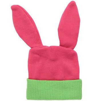 Bob's Burgers Lousie Rabbit Ears Adult Cuff Winter Beanie Hat - Pink/Green