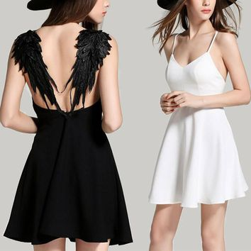 Angel Wings Black White Mini Sexy Backless Dress