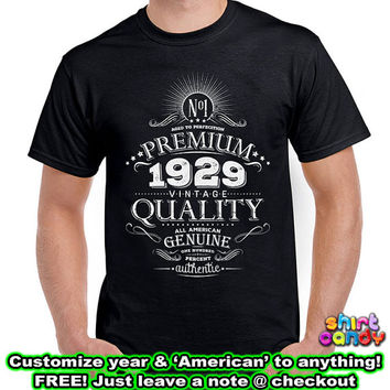 Born 1930 85th Birthday Gift Personalized Vintage T shirt Made With Any Year Cool For Him Aged To Perfection Whiskey Label Custom Tee DN-B29